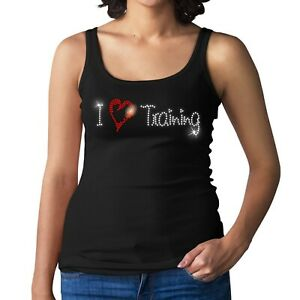 I LOVE TRAINING Ladies Crystal Vest - Rhinestone Gym Fitness Design - Size 6-18