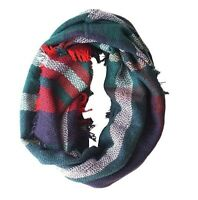 Green Woven Plaid Infinity Scarf With Fringe