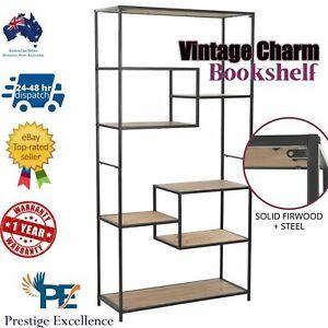 Shelf Storage Display Bookshelf Cabinet Bookcase Rack Book Stand Wooden Metal AU