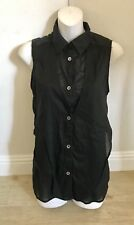 Helmut Lang black sheer Layered sleeveless button up Cotton tank top Collared P