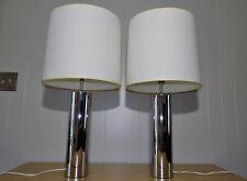 Pair Robert Sonneman for George Kovacs Chrome Cylinder Lamps mid century modern