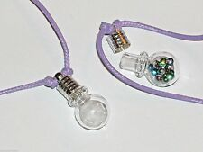 1pc Glass Crystal Ball oil urn vial Bracelet charm pendant fill Bottle PURPLE