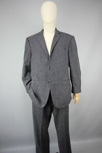 Suitsupply Grey/Black Striped Suit Two-Button Front Mens Pure Wool Size 54/UK 44