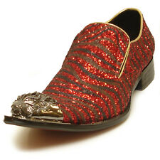 FI-6982 Black   Red Glitter Leather Shoe by Fiesso Gold Metal Tip Slip on 16df25fc653c