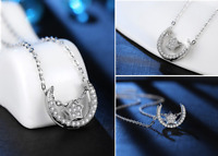 1.6ct Round Cut Diamond Pendant Chain Moon & Star Design 14k White Gold Finish
