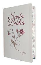 Biblia Reina Valera 1960 Letra Grande Piel Blanca Con Flor E Indice