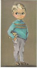Vintage 1970s Best Wishes Birthday Greeting Card Big Eyed Children Art Piece