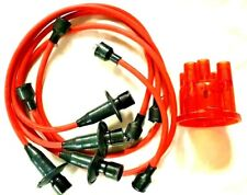 VW T1 BEETLE T2 CAMPER RED LEAD SET WITH RED TRANSPARENT DISTRIBUTOR CAP LEADS