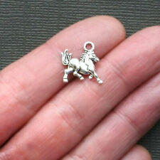 10 Horse Charms Antique Silver Tone 2 Sided - SC2191
