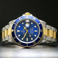 1997 Rolex 16613 Submariner 18K/SS Blue Dial All Orig Serviced, Box, Open Papers
