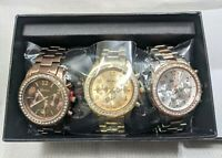 NIB 3 Geneva Platinum Chronograph Style Womens Crystals Bling Rose Gold Watches