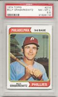 SET BREAK - 1974 TOPPS #214 BILLY GRABARKEWITZ, PSA 8.5 NM-MT+, NICELY CENTERED
