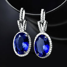 HUCHE Blue Gemstone Sapphire Ehite Gold Filled Dangle Lady Wedding Party Earring