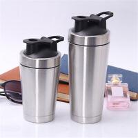 720ml Stainless Steel Sport Water Bottle Whey Protein Milkshake Shaker Mixer Cup