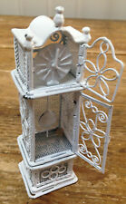 Miniature Grandfather Clock Doll House Dollhouse White Metal Wire CAC Ornament