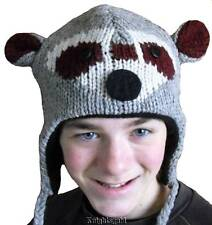 Hat Beanie Raccoon Adult Childs Novelty Costume 100% Wool Knit Polyfleece Lined