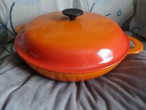 Le Creuset Large Cast Iron 30cm Orange / Volcanic Shallow Casserole Dish Pan Lid