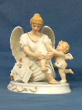 Rare Grandeur Noel O'Well Collector Edition Porcelain Angel w/ Cherub Lyre Harp