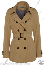 Size 8 10 12 14 16 Women's CANVAS MAC Ladies TRENCH JACKET COAT Camel Black