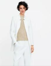 NWT Zara White Frock Coat Jacket Blazer Inverted Lapel Mid Length Size 2XL