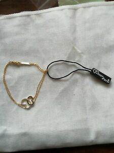 TRESOR PARIS  GOLD COLOURED & INTERTWINED CRYSTAL HEARTS BRACELET  NEWW TAG