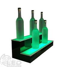 30 2 Tier Step Led Lighted Back Bar Liquor Bottle Shelf Glowing Display Stand