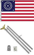 3x5 Cavalry Guidon 34 Star Flag w/ 6' Ft Aluminum Flagpole Flag Pole kit Eagle