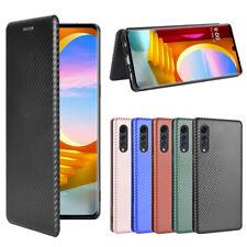 For LG Velvet 5G Luxury Slim Hybrid Flip Carbon Fiber Wallet Card TPU Case Cover