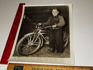 Rare Historic Original VTG Jim Wood Gets Bicycle Tires President Roosevelt Photo