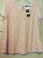 New Pink Lace Floral 3X Top 22/24W 2X Career Nylon Sheer Ruffle Lace Beautiful