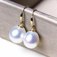 AAAAA 14K Yellow Gold Japanese Akoya 10-12mm white pearl earring