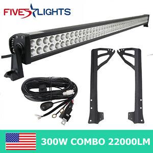 "Fits Jeep Wrangler JK 07-19 Bracket+52"" 300W LED Light Bar +Wiring Harness Kit"