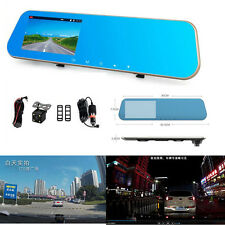 Car 4.3 LCD HD DVR Dual Lens Rearview Mirror Video Driving Recorder Rear Camera