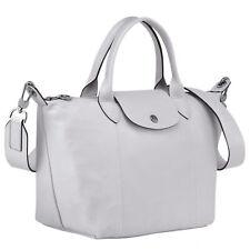LongChamp Women's Le Pliage Grey Leather Top Handle Leather Tote Handbag Medium