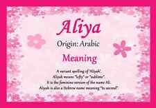 Aliya Personalised Name Meaning Certificate