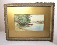 antique 1800's original watercolor seascape landscape nautical fishing painting