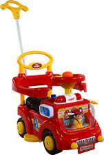 Baby Car WALKER Fire Engine Red Toddler Ride On Push Along Parent Handl