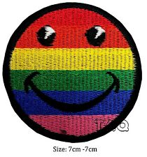 Smiley face iron on patch badge colour rainbow fine cute # 119
