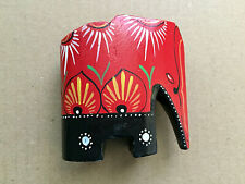 "Vintage Red Wooden Elephant Figurine 3"" Tall Home Decor"