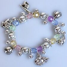 Baseball Mom Fan Sport Themed Stretch Crystal Charm Bracelet Jewelry Gift