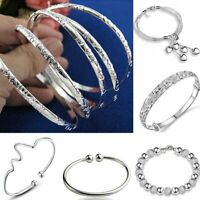 Fashion Silver Flower Statement Bracelet Bangle Women Wedding Jewelry Holiday