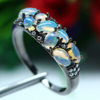 NATURAL WHITE RAINBOW OPAL & WHITE CZ RING 925 STERLING SILVER