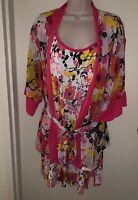 JOSIE NATORI Women's Floral Print Chemise XL & Chiffon Robe XL/XXL WHITE MULTI