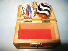 Contemporary Marbles 2 EA. in Wooden mini Chest..Sharp Looking for Displaying..