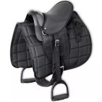 """vidaXL Horse Riding Saddle Set w/ Padded Blanket  Fabric 10"""" Black Pony Tack"""