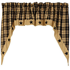 Farmhouse new Country lined Black/tan STAR window Swag