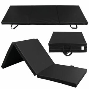Sunny Health Fitness NO048 Tri-Folding Gymnastics Mat - Black