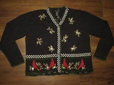 M/L Medium Large UGLY Christmas Sweater Knit Cardigan Beads! Sequins! Mens /Wmns