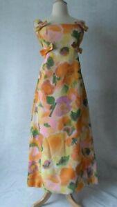 moygashel,shift 1960s 60s small floral Vintage dress Mod dress linen dress kitty Copeland scooter girl orange UK 10 GoGo 8