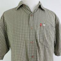 Ecko Unltd Mens Short Sleeve Logo Button Down Plaid Olive Green Shirt Size XXL